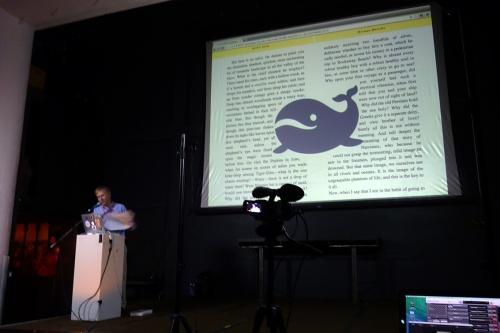 slide from Dave Cramer's presentation, showing text reflow around illustrations in a browser